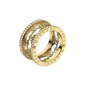 Michael Kors Barrel Logo Gold Tone Ring Size 7